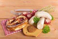 Het Beierse Ontbijt van de Kalfsvleesworst Stock Afbeelding