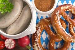 Het Beierse Ontbijt van de Kalfsvleesworst Stock Foto's