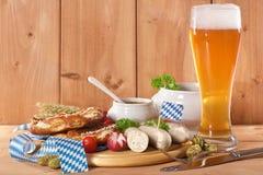 Het Beierse Ontbijt van de Kalfsvleesworst Royalty-vrije Stock Afbeeldingen
