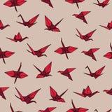 Het beige en rode naadloze vectorpatroon van de kraanorigami stock illustratie