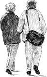 Het bejaarde echtgenoten lopen Stock Foto's