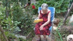 Het bejaarde gaat zitten in een leunstoel stock videobeelden