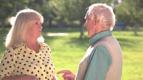 Het bejaarde paar debatteren stock footage