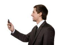 Het bekijken de telefoonman Royalty-vrije Stock Foto's