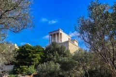 Het bekijken omhoog in Athene Accropolis van de bodem van de heuvel Royalty-vrije Stock Foto