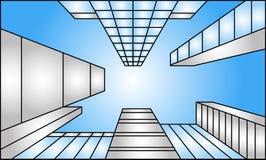 Het bekijken omhoog wolkenkrabbersillustratie in één-punt perspectief Stock Foto's