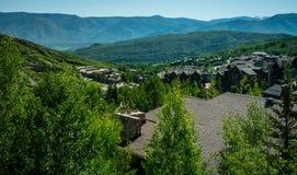 Het bekijken over de Vallei in Snowmass Colorado met Flatgebouwen met koopflats en huizen allen over de vallei Royalty-vrije Stock Fotografie