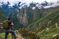 Het bekijken uit de bergen van Machu Picchu Royalty-vrije Stock Afbeeldingen