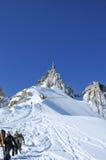 Het beklimmen neer van aiguille du Midi Stock Afbeelding