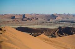 Het beklimmen van Big Daddy Dune, Mening op Woestijnlandschap, Sossusvlei Stock Afbeelding