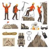 Het beklimmen van de Pictogrammen van het Wandelingsalpinisme Royalty-vrije Stock Afbeeldingen