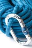 Het beklimmen van kabel en karabiner Stock Foto's