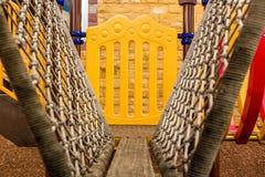 Het beklimmen van Steiger in Speelplaats/Steiger in Speelplaats/Close-upsteiger in Speelplaats die Kabeldetail openbaren Royalty-vrije Stock Afbeeldingen