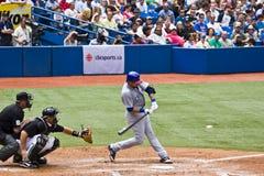 Het belangrijke Honkbal van de Liga: Swingin bij een hoogte Royalty-vrije Stock Foto