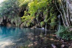 Het belangrijkste natuurlijke oriëntatiepunt van Kroatië is de Plitvice-Meren met cascades van watervallen Smaragdgroen duidelijk royalty-vrije stock foto's