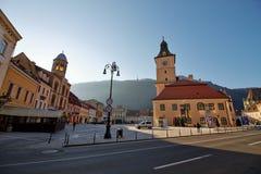 Het belangrijkste vierkant van de middeleeuwse stad van Brasov, Roemenië Royalty-vrije Stock Foto's