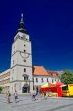 Het belangrijkste vierkant van Trnawa-Stad, Slowakije Stock Foto
