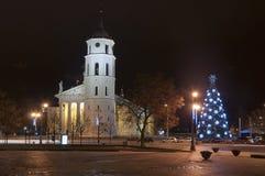 Het belangrijkste vierkant van Vilnius bij nacht Royalty-vrije Stock Fotografie