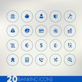 Het beleggen van blauwe pictogrammen op lichte achtergrond Royalty-vrije Stock Afbeelding