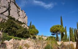 Het Benedictineklooster van Montserrat spanje Mening Stock Foto