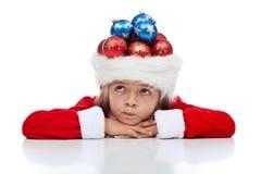 Het benieuwd zijn over mijn Kerstmis stelt voor stock afbeelding