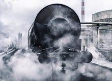Het benzinestation van de spoorwegtank Stock Foto's