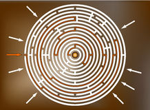 Het bereiken van het doel in bruin labyrint, Royalty-vrije Stock Fotografie