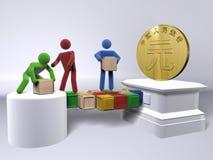 Het bereiken voor Yuan (de munt van China) Royalty-vrije Stock Afbeelding