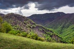 Het berggebied deforested een echte natuurramp stock afbeelding