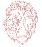 Het Bergkristalembleem 2mm van het leeuwgebrul SS6 van het het embleemsymbool van de patroonkaart van de de illustratiehitte vect Stock Afbeeldingen