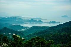Het berglandschap van Jiufen, de Nieuwe Stad van Taipeh, Taiwan stock fotografie