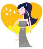 Het berichtâ jonge vrouw van de liefde met celtelefoon Stock Fotografie