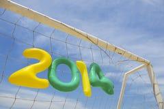 Het Bericht Geelgroen Blauw van de voetbalvoetbal 2014 Stock Foto's