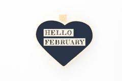Het bericht van conceptenhello FEBRUARI op houten raad Royalty-vrije Stock Foto's