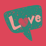Het bericht van de liefde in toespraakbel Stock Foto's