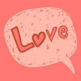 Het bericht van de liefde in toespraakbel Stock Afbeeldingen