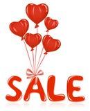 Het bericht van de verkoop met ballons. vector illustratie