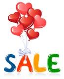 Het bericht van de verkoop met hartballons stock illustratie