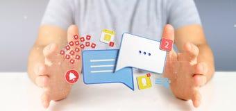 Het bericht van de zakenmanholding en berichten van sociale 3d media Stock Foto's
