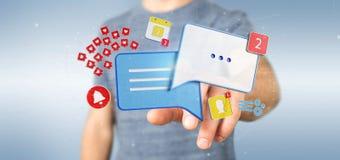 Het bericht van de zakenmanholding en berichten van sociale 3d media Royalty-vrije Stock Afbeeldingen