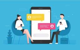 Het bericht van praatjeberichten op smartphone Stock Fotografie