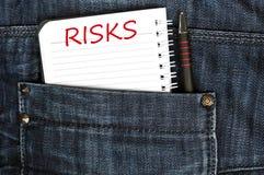 Het bericht van risico's Stock Foto's