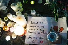 Het bericht van Straatsburg van Jesuis na terroristische aanslag bij Kerstmis M stock afbeeldingen