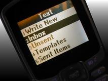 Het berichtmenu van de tekst Stock Foto