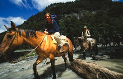 Het berijden van de vrouw paard over rivier in Patagonië, Agentina royalty-vrije stock fotografie