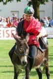 Het berijden van een ezelswedstrijd Stock Foto