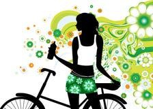 Het berijden van een fiets Stock Afbeelding