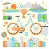 Het berijden van een fiets vlakke illustratie stock illustratie