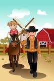 Het berijden van het meisje paard met grootvader Stock Afbeelding