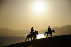 Het berijden van paard bij zonsopgang Royalty-vrije Stock Foto